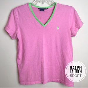 Ralph Lauren Sport Pink Green V-Neck Shirt M